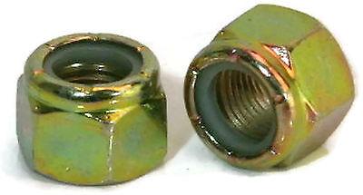 "Nylon Lock Nuts Yellow Zinc Grade C - 3/8""-24 UNF - QTY 50"