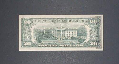 """1977 B $20 FEDERAL RESERVE NOTE  BACK OFFSET PRINTING ERROR"""" XF"""