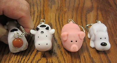 1 New Naughty Farm Animals Pooping Keychain Dog Pig Or Cow Squeeze Poop Key Ring