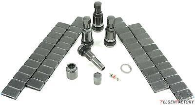 4x 11,3mm Aluminium Ventil Felgenventile Metal Anthrazit + 240g Auswucht Gewicht