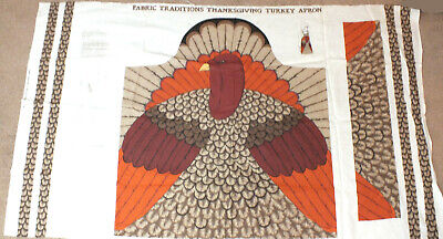 Thanksgiving Craft Projects (Vintage Thanksgiving Turkey Apron Fabric Panel Cut Sew Craft Project)