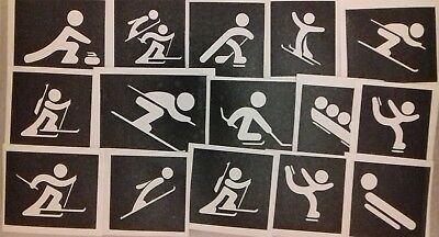 10 - 100 Winter Olympic Sports theme stencils (mixed) for etching on glass skiin - Olympic Themed Crafts
