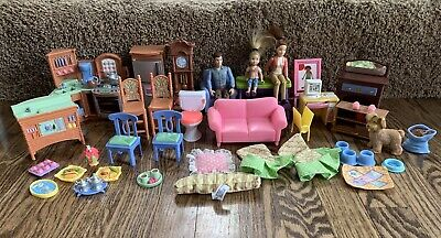 Huge LOT Fisher Price Loving Family Dollhouse Furniture, Accessories, 3 People