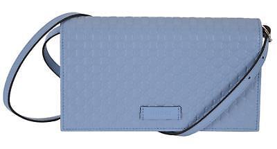 NEW Gucci 466507 Blue Leather Micro GG Guccissima Crossbody Wallet Bag (Gucci Blue)