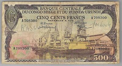 Congo  Belgian Congo Ruanda-Urundi 500 francs 01-11-1957 P34