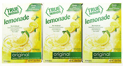 True Lemon ~ 10 pk ~ Original Lemonade ~  Real Flavor From Real Fruit ~ Lot of 3 Lemon Mint Flavor