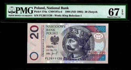 Poland 20 Zlotych 1994 PMG 67 EPQ UNC P#174a King  Boleslaw I Chrobry
