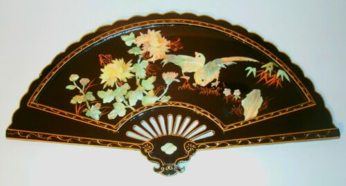 Mother Of Pearl Abalone Shell Black Lacquer Wall Fan