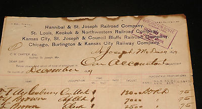 ANTIQUE RAILROAD LETTERHEAD DOCUMENT BURLINGTON ROUTE HANNIBAL & ST JOSEPH 1899
