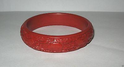 Vintage Chinese Cinnabar Deep Carved Dragon Bangle Bracelet