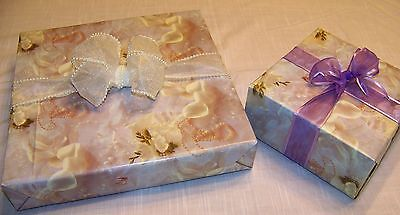 Anniversary Wedding Gift Wrap - Lot 24 pc Pearls Shells Wedding Anniversary Tropical Gift Wrap Lavender Pink Whi