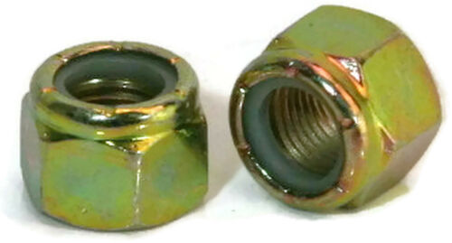 "Yellow Zinc Plated Grade 8 Steel Nylon Insert Lock Nuts - 1/4""-20 to 1-1/2""-6"