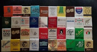 Vintage Lot of 40 Match Books Restaurant Dining Steak house seafood misc etc.