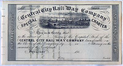 Central City Rail Way Company Stock Certificate Syracuse New York Railroad - Party City Syracuse Ny