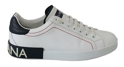DOLCE & GABBANA Shoes Sneakers White Leather Silver Logo Casual Mens EU42 / US9