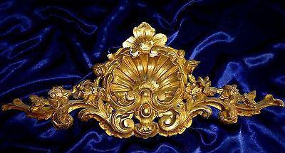 """Antique Hand Carved Georgian Element Gilded Wood French Decor Pediment 27""""x11"""""""