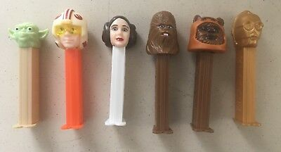 Star Wars Lot of 5 PEZ Dispensers 1997 Yoda Luke Chewbacca Ewok C3P0 Leia