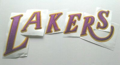 Iron Jersey Letters - LAKERS Jersey Uniform Jacket Shirt Embroidered Letters Iron Sew Patch Throwback