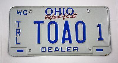 Vintage 1993 Original OHIO Watercraft Trailer MASTER Dealer License Plate TOAO