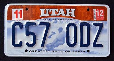 "UTAH "" LIFE ELEVATED - GREATEST SNOW - SKIER "" 2012 UT Graphic License Plate"