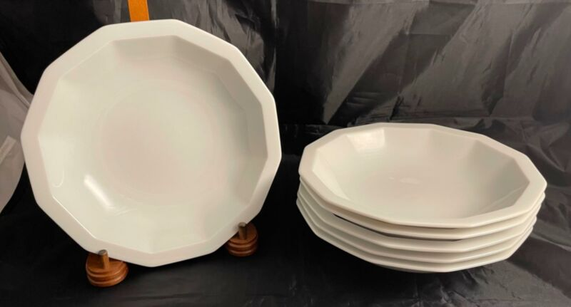 Set of 6 Rosenthal Studio Line POLYGON WHITE Rim Soup Bowls Free Shipping