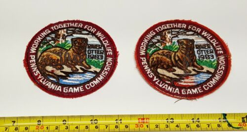 Qty 2 Pennsylvania Game Commission 1983 River Otter Patch - Guaranteed Original