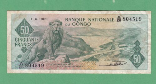 Congo 50 Franc Note  P-5   FINE With Soiling