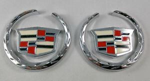 2x CADILLAC 3D Emblem Crest Wreath Sticker Chrome Badge Escalade XTS ATS CTS
