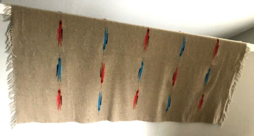 Vtg Mexican Serape Bird Blanket Rug Indian Flying Brown Tan Red Blue Fringe