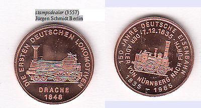 Dampflok DRACHE 1848 Eisenbahn Nürnberg Fürth Cu-Medaille 18 mm stampsdealer