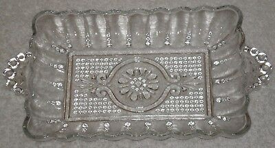 Vintage 50's Anchor Hocking Clear Pressed Glass Rectangular Relish Dish