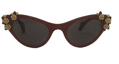 Schiaparelli Vintage 50s Red Cat Eye Floral Sunglasses