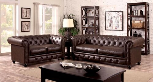 Classic Brown Leatherette 2pc Set Sofa Loveseat Traditional Formal Cushion Couch
