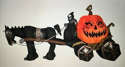 NIB~14ft GEMMY Projection Inflatable-Fire & Ice-Grim Reaper Carriage~Halloween