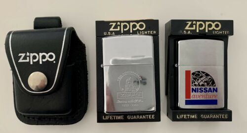 Lot de 2 briquets zippo + boites + pochette en cuir