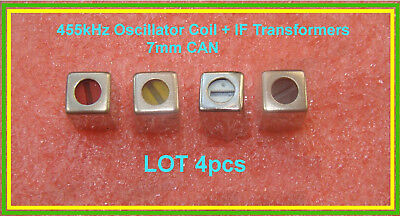 If 455 Khz Radio Transformer Oscillator Coil Set Red Yellow White Black Can 7mm
