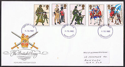 British Army Uniforms 1983 First Day Cover SG1218 to SG1222 Warrington