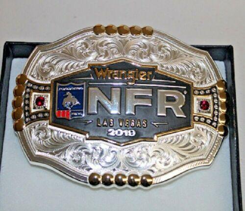 NIB Montana Silversmiths Belt Buckle 2019 Wrangler NFR Las Vegas, PRCA w~Cz