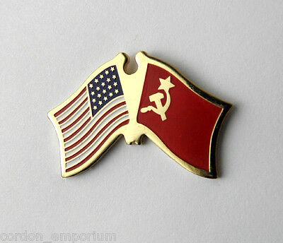 RUSSIA RUSSIAN CCCP SOVIET UNION USA COMBO FLAG LAPEL PIN BADGE1 INCH