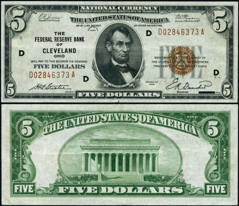 FR. 1850 D $5 1929 Federal Reserve Bank Note Cleveland D-A Block XF+