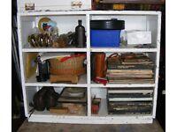 Vintage wooden school 6 pigeon hole shelf unit for shoes, books, ect.