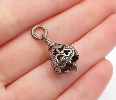 925 Sterling Silver - Vintage Petite Love Heart Detail Bell Drop Pendant- P10486 Heart Silver Bell