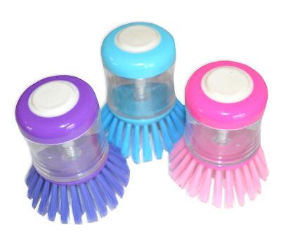 3x Spülbürste mit Spülmittelspender verschiedene Farben Topfbürste Bürste