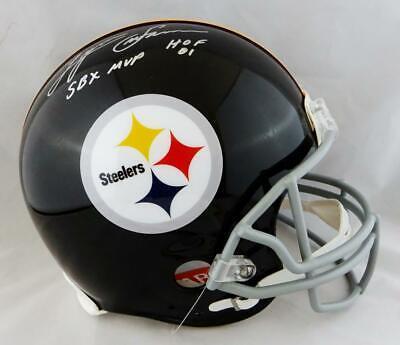 58a69cb0e72 Lynn Swann Signed F S Steelers 63-76 TB ProLine Helmet w  2 Stats- JSA W  Auth  S