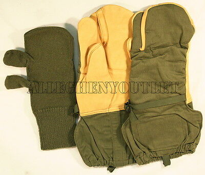 Medium Leather Glove - US Military Army Leather OD Trigger Finger Mittens Gloves NO Lanyard Medium NEW