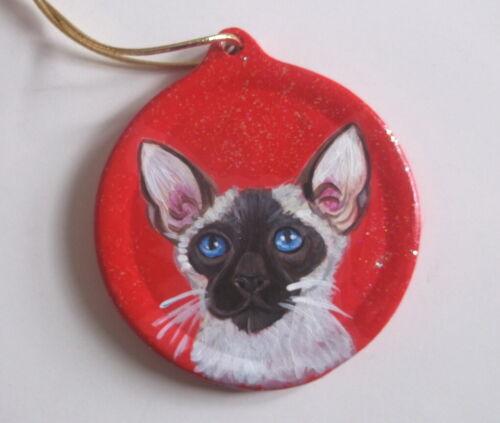 Siamese Cat Christmas Ornament Decoration Hand Painted Ceramic