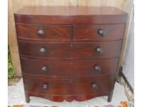 Antique bow fronted mahogany chest of drawers