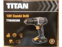 TITAN 18V LI-ION CORDLESS COMBI DRILL x2 BATTERIES BRAND NEW SAVE £20