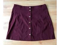 Burgundy suede style mini skirt