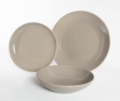 Servizio di Piatti da Tavola in Ceramica Lido Tortora 18 pezzi